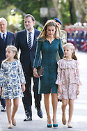 Princess Sofia, Queen Letizia of Spain and Princess Leonor attended the Military Parade during the Spanish National Day on October 12, 2014 in Madrid, Spain