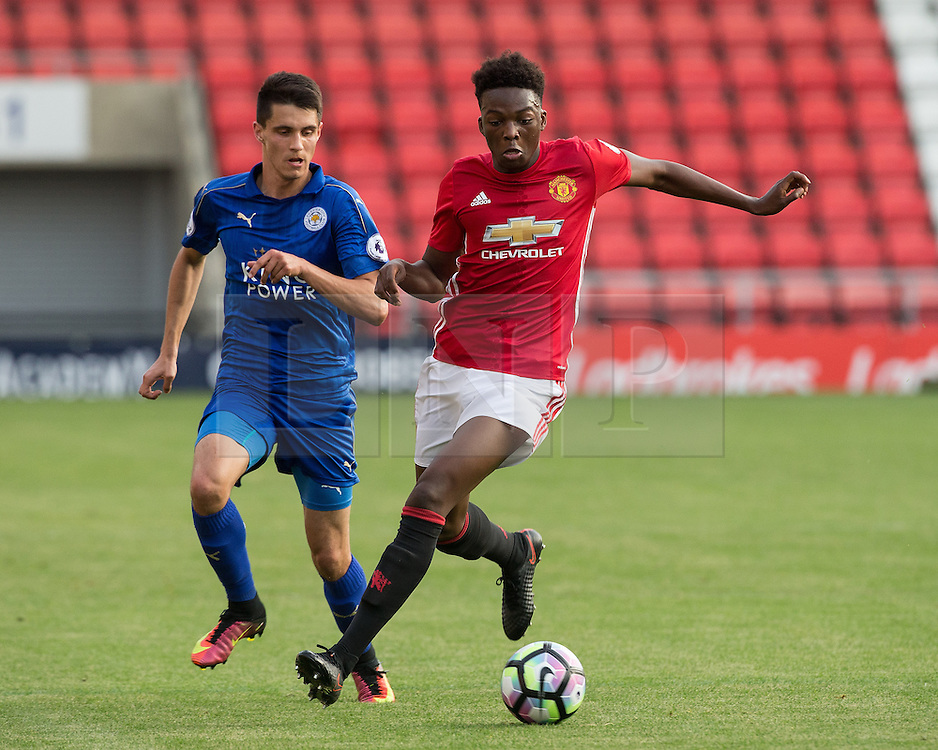 © Licensed to London News Pictures . 15/08/2016 . Leigh , UK . JOSHUA HARROP on the ball . Manchester United vs Leicester City reserves at Leigh Sports Village Stadium . Photo credit : Joel Goodman/LNP