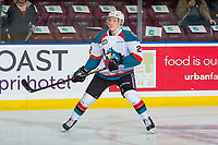 KELOWNA, CANADA - FEBRUARY 2: Lassi Thomson #2 of the Kelowna Rockets warms up against the Kamloops Blazers on February 2, 2019 at Prospera Place in Kelowna, British Columbia, Canada.  (Photo by Marissa Baecker/Shoot the Breeze)