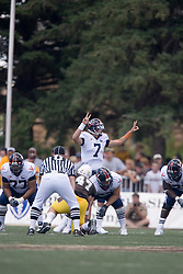 Virginia quarterback Peter Lalich (7) entered the game late in the fourth quarter.  The Wyoming Cowboys defeated the Virginia Cavaliers 23-3 at War Memorial Stadium in Laramie, WY on September 1, 2007.