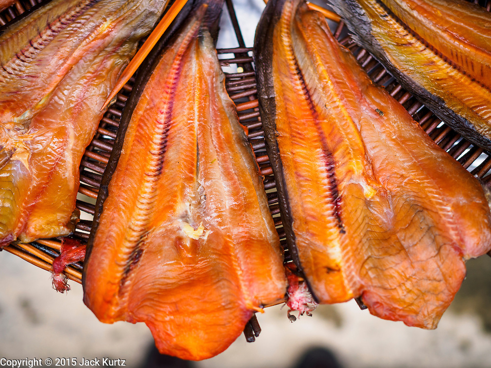 20 JULY 2015 - NONTHABURI, NONTHABURI, THAILAND:  Fish dries in the sun in a neighborhood in Nonthaburi, a suburb of Bangkok. This neighborhood is scheduled to be redeveloped. The Chao Phraya promenade is development project of parks, walkways and recreational areas on the Chao Phraya River between Pin Klao and Phra Nang Klao Bridges. The 14 kilometer long promenade will cost approximately 14 billion Baht (407 million US Dollars). The project involves the forced eviction of more than 200 communities of people who live along the river, a dozen riverfront  temples, several schools, and privately-owned piers on both sides of the Chao Phraya River. Construction is scheduled on the project is scheduled to start in early 2016. There has been very little public input on the planned redevelopment.          PHOTO BY JACK KURTZ