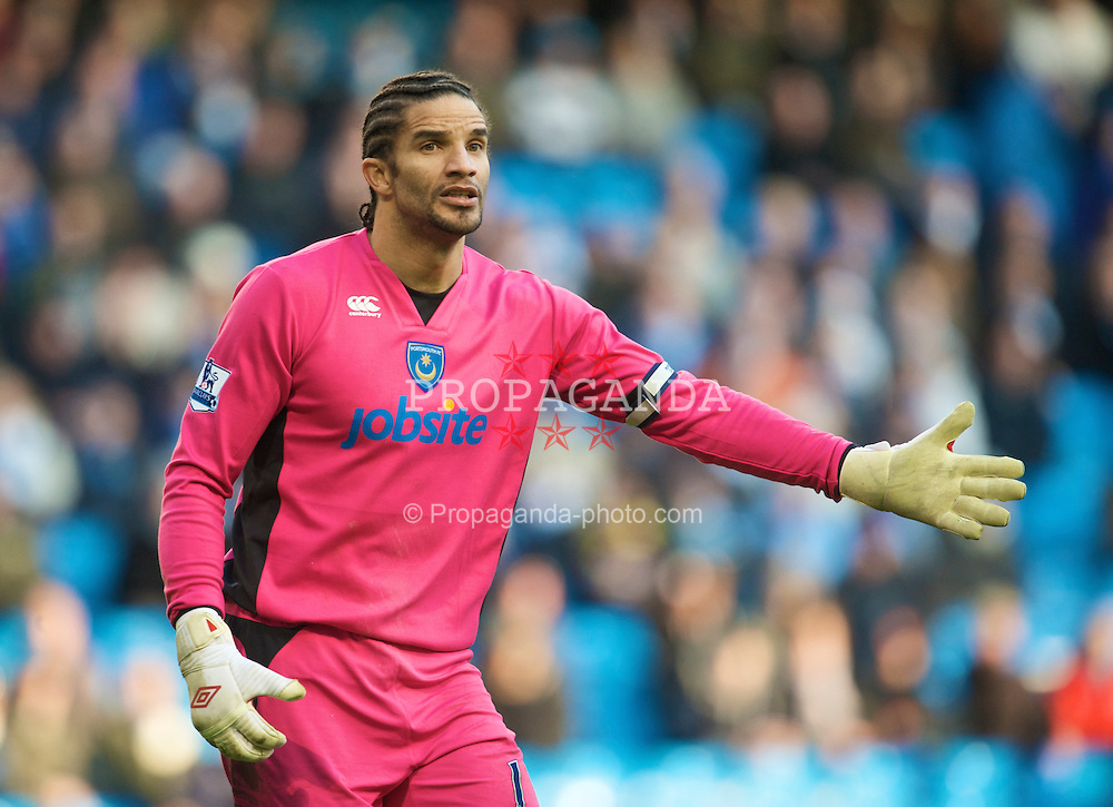 MANCHESTER, ENGLAND - Sunday, January 31, 2010: Portsmouth's David James in action against his former club Manchester City during the Premiership match at the City of Manchester Stadium. (Photo by David Rawcliffe/Propaganda)