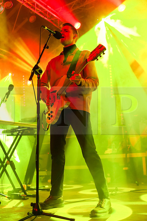 © Licensed to London News Pictures. 04/04/2014. Rotterdam, Netherlands.   Wild Beasts performing live at Motel Mozaique Festival.  In this picture - Hayden Thorpe.  Wild Beasts are an english Mercury Award-nominated indie rock band composed of members Hayden Thorpe (vocals, guitar, bass, keys), Ben Little (guitar, keys), Tom Fleming (bass, vocals, guitar, keys), and Chris Talbot (drums, vocals).Motel Mozaïque is an annual music/arts festival, held annually in Rotterdam, Netherlands.  Photo credit : Richard Isaac/LNP