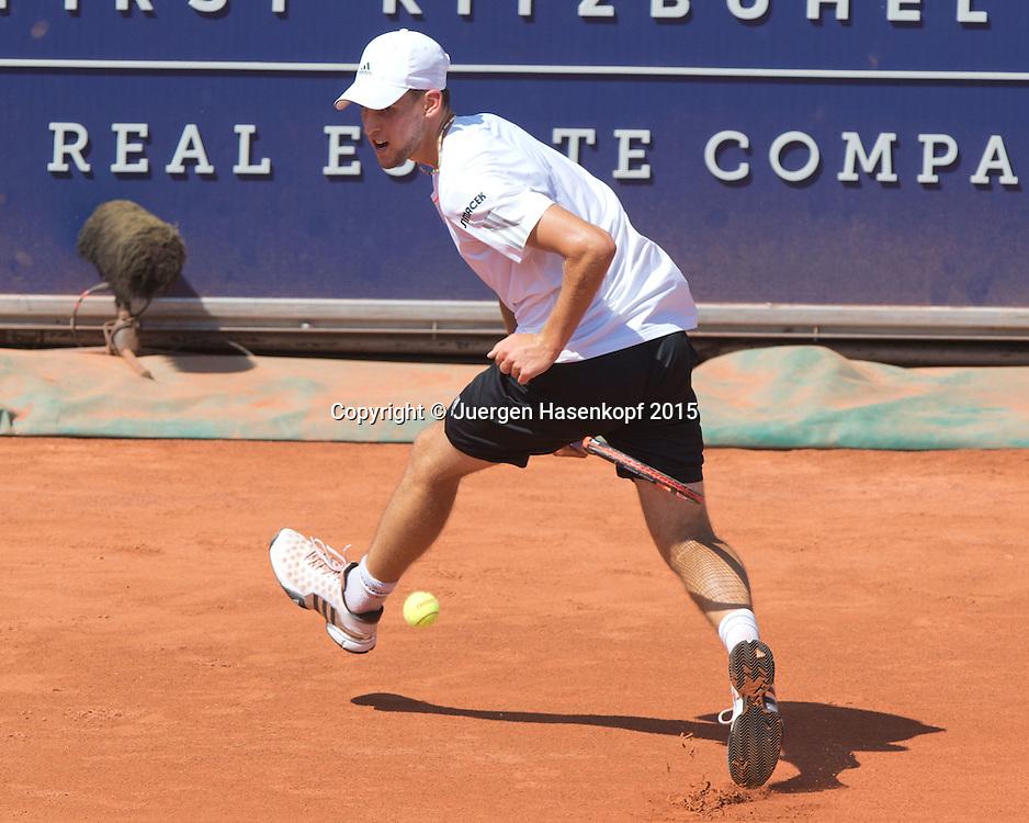 Dominic Thiem (AUT) spielt einen Tweener durch die Beine,kurios,<br /> <br /> Tennis - Generali-Kitzbuehel-Open2015 - ATP 250 -  Kitzbuehler Tennis Club - Kitzbuehel - Tirol - Oesterreich  - 7 August 2015. <br /> &copy; Juergen Hasenkopf