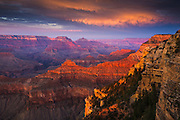 Sunset on the Grand Canyon as viewed from Yavapai Point on the South Rim.