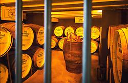 THEMENBILD - verschiedene Fässer mit Whiskey mit unterschiedlichen Jahrgang versperrt in einem Lager Keller in der Glenlivet Whiskey Destillerie bei Ballindalloch, Schottland, aufgenommen am 08. Juni 2015 // several barrels of whiskey with different vintage locked in a storage cellar in the Glenlivet whiskey distillery near Ballindalloch, Scotland on 2015/06/08. EXPA Pictures © 2015, PhotoCredit: EXPA/ JFK