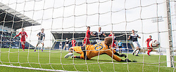 Raith Rovers keeper Lee Robinson saves another Falkirk attack.<br /> Falkirk 2 v 1 Raith Rovers, Scottish Championship game played today at The Falkirk Stadium.<br /> © Michael Schofield.