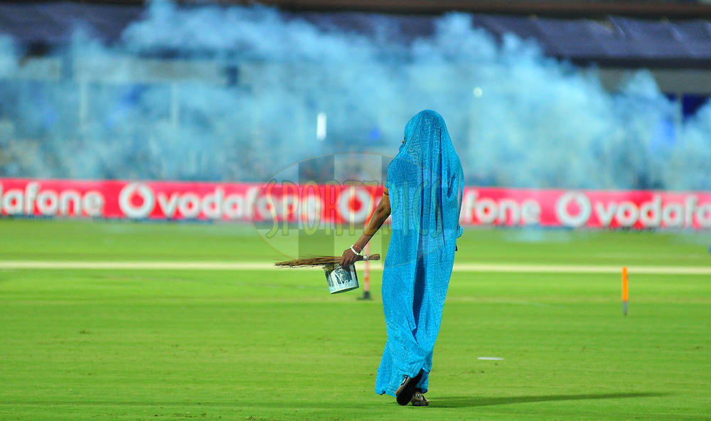 A ground staff during match 30 of the the Indian Premier League ( IPL) 2012  between The Rajasthan Royals and the Royal Challengers Bangalore held at the Sawai Mansingh Stadium in Jaipur on the 23rd April 2012Photo by Arjun Panwar/IPL/SPORTZPICS