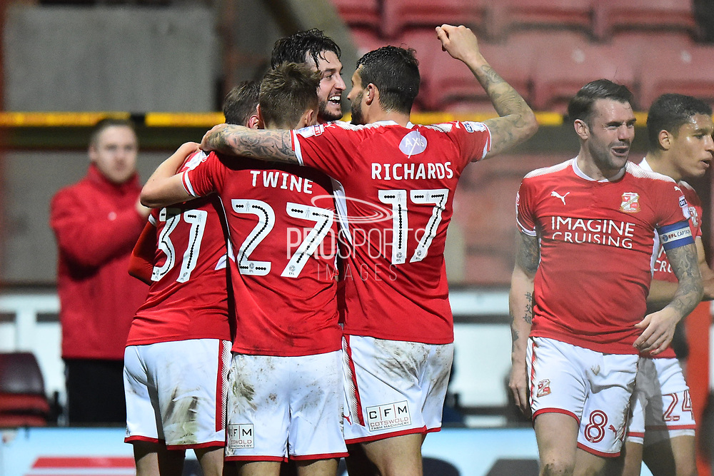Goal - Matt Taylor (31) of Swindon Town celebrates scores a goal to make the score 2-1 during the EFL Sky Bet League 2 match between Swindon Town and Yeovil Town at the County Ground, Swindon, England on 10 April 2018. Picture by Graham Hunt.