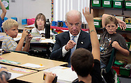 BRENDAN FITTERER  |  Times.PT_344785_FITT_biden_4 (10/04/2011 Land O'Lakes) During a visit to an Oakstead Elementary fifth grade classroom Tuesday, Vice President Joe Biden, calls on William Schuler, foreground. In the background are his classmates, from left, Rocco Cardinale, Addison Couch, and Jaden Woodard..SUMMARY: Vice President Joe Biden visits Oakstead Elementary School in Land O'Lakes..BRENDAN FITTERER  |  Times