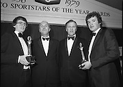 1980-02-29.29th February 1980.29/02/1980.02-29-80..Photographed at Burlington Hotel, Dublin..Sporting Prowess:..Ireland's Top Ten sporting figures from 1979 are acknowledged at the Texaco Sportstars of the Year Awards. .From Left:..John Treacey, recipient of the Athletics Award.George Colley TD who presented the awards .Tony Hill, Managing Director of Texaco (Ireland) Limited.Mike Sheehy, recipient of the Gaelic Football Award.