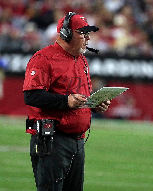 Arizona Cardinals head coach Bruce Arians during an NFL football game against the Washington Redskins, Sunday, Dec. 4, 2016, in Glendale, Ariz. (AP Photo/Rick Scuteri)