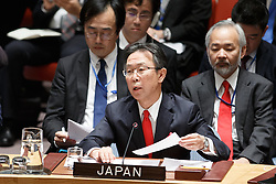 Motohide Yoshikawa(front), Japan's permanent representative to the United Nations(front), speaks after the Security Council adopted a resolution on the Democratic People's Republic of Korea (DPRK) at the UN headquarters in New York, March 2, 2016. The UN Security Council adopted a resolution on Wednesday to impose sanctions on the Democratic People's Republic of Korea (DPRK) in order to curb the country's nuclear and missile programs. EXPA Pictures © 2016, PhotoCredit: EXPA/ Photoshot/ Li Muzi<br />