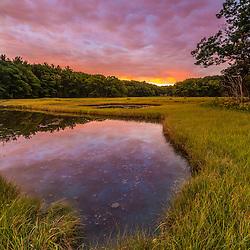 Dawn on the salt marsh along the Castle Neck River in Ipswich, Massachusetts.