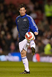 Manchester, England - Tuesday, March 13, 2007: Europe XI's Robbie 'God' Fowler warms-up before the UEFA Celebration Match against Manchester United at Old Trafford. (Pic by David Rawcliffe/Propaganda)