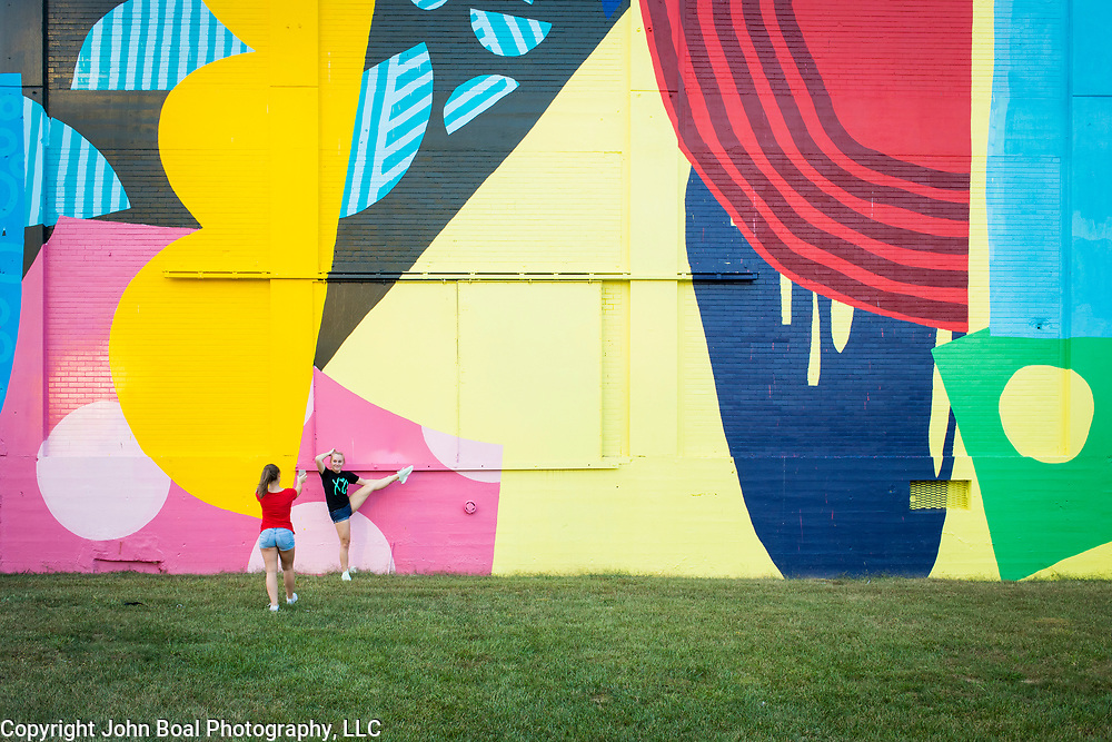 North Hagerstown High School classmates, Cira Bickford, 16, left, takes a picture of her friend, Olivia King, 17, in front of a massive mural painted on the side of a former grain mill in downtown Hagerstown, Maryland, on Tuesday, September 26, 2017. Originally a District that was mostly rural, but included towns like Frederick and Hagerstown, Maryland's 6th District was redistricted in 2011, combining rural northern Maryland regions with more affluent communities like near Washington D.C. turning the district from Republican to Democrat. <br />  <br /> CREDIT: John Boal for The Wall Street Journal<br /> GERRYMANDER
