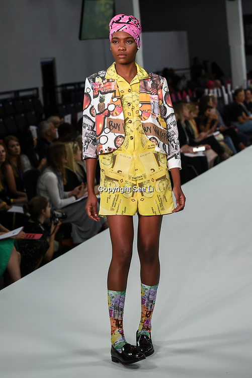 Designer Mojadesola Ayemobola showcases it lastest collection at the Graduate Fashion Week 2018, 4 June 4 2018 at Truman Brewery, London, UK.