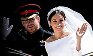 Date: 19/05/2018<br /> PH:  Nick Edwards<br /> <br /> Pictured: prince Harry and Meghan Markle <br /> <br /> The Royal Wedding of prince Harry and Meghan Markle is taking place today. thousands of people are expected to line the streets in Windsor to watch the couple ride by