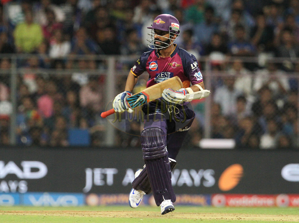Rising Pune Supergiants player Ajinkya Rahane takes a run during match 1 of the Vivo Indian Premier League ( IPL ) 2016 between the Mumbai Indians and the Rising Pune Supergiants held at the Wankhede Stadium in Mumbai on the 9th April 2016<br /> <br /> Photo by Vipin Pawar/ IPL/ SPORTZPICS