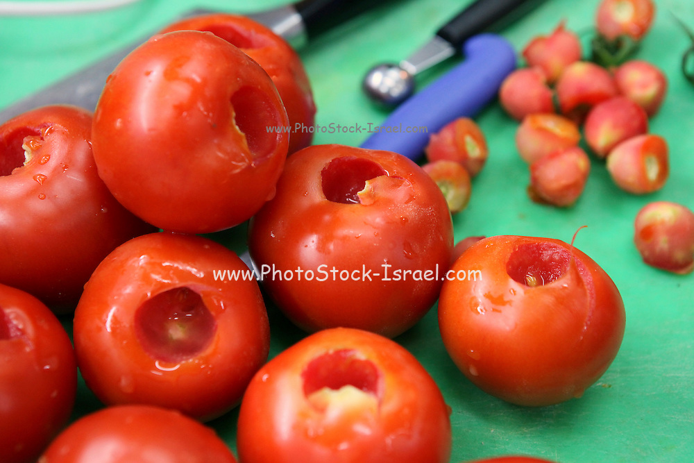 Stuffed tomatoes - hollow tomatoes ready for stuffing