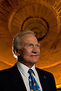Apollo 11 astronaut Buzz Aldrin poses for a portrait in the Saturn V building at Johnson Space Center April 15, 2008 in Houston, Texas. (Photo by Dave Einsel)