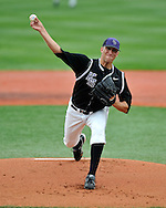 MANHATTAN, KS - APRIL 26:  Starting pitcher Brad Hutt of the Kansas State Wildcats pitched 8 innings enroute to his 4th win on the season against the Texas Longhorns on April 26, 2008 at Tointon Stadium in Manhattan, Kansas.  Kansas State defeated Texas 4-1.  (Photo by Peter Aiken/Getty Images)