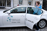 (R) Kamil Gajewski of Poland with official car by Lexus after official draw one day before the BNP Paribas Davis Cup 2013 between Poland and South Africa at MOSiR Hall in Zielona Gora on April 04, 2013...Poland, Zielona Gora, April 04, 2013..Picture also available in RAW (NEF) or TIFF format on special request...For editorial use only. Any commercial or promotional use requires permission...Photo by © Adam Nurkiewicz / Mediasport