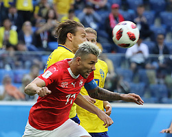 July 3, 2018 - Russia - July 03, 2018, St. Petersburg, FIFA World Cup 2018 Football, the playoff round. Football match of Sweden - Switzerland at the stadium of St. Petersburg. Player of the national team.. Valon Behrami. (Credit Image: © Russian Look via ZUMA Wire)