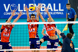Dejan Vincic of ACH, Milan Rasic of ACH, Andrej Flajs of ACH vs Ivan Raic of Budvanska Rivijera during volleyball match between ACH Volley LJUBLJANA and Budvanska Rivijera BUDVA.of 2012 CEV Volleyball Champions League, Men, League Round in Pool F, 2nd Leg, on October 26, 2011, in Arena Stozice, Ljubljana, Slovenia.  (Photo by Vid Ponikvar / Sportida)