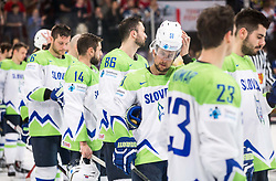 Mitja Robar of Slovenia after the 2017 IIHF Men's World Championship group B Ice hockey match between National Teams of France and Slovenia, on May 15, 2017 in AccorHotels Arena in Paris, France. Photo by Vid Ponikvar / Sportida