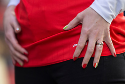 DUBLIN, REPUBLIC OF IRELAND - Friday, March 24, 2017: The painted nails of a female Wales supporter in Dublin ahead of the 2018 FIFA World Cup Qualifying Group D match against Republic of Ireland. (Pic by Paul Greenwood/Propaganda)
