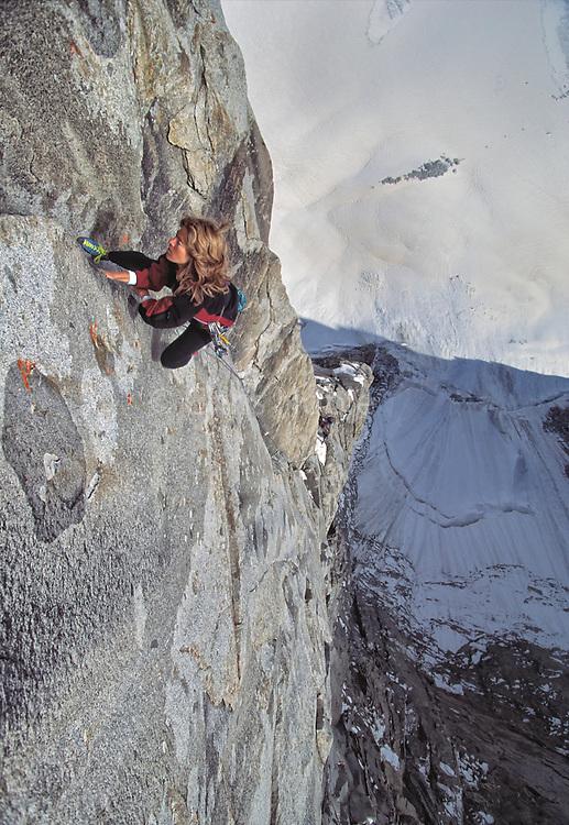 "Lynn Hill climbing ""The Bird"" rated 5.11 in the Ak-Su, Pamirs, Kyrgyzstan"