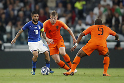 (L-R) Lorenzo Insigne of Italy, Matthijs de Ligt of Holland, Ryan Babel of Holland during the International friendly match between Italy and The Netherlands at Allianz Stadium on June 04, 2018 in Turin, Italy