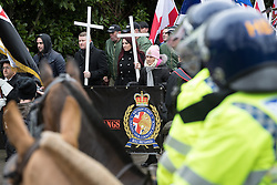 © Licensed to London News Pictures. 25/02/2017. Telford, UK. Britain First leader Paul Golding and deputy leader Jayda Fransen at a demonstration in Telford , opposed by anti-fascist groups . Britain First say they are highlighting concerns about child sexual exploitation in the town . Photo credit: Joel Goodman/LNP