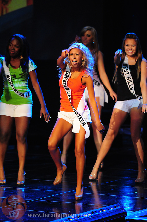 "November 22, 2009; Rancho Mirage, CA, USA; Miss Greater San Diego Teen USA Taylor Snyder during the Miss California Teen USA 2010 Pageant at ""The Show"" at the Agua Caliente Resort & Spa. Mandatory Credit: Kyle Terada-Terada Photo"