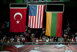 Turkish, US and Lithuanian flags during the medal ceremony after the finals basketball match between National teams of Turkey and USA at 2010 FIBA World Championships on September 12, 2010 at the Sinan Erdem Dome in Istanbul, Turkey.  USA defeated Turkey 81 - 64 and became World Champion 2010. (Photo By Vid Ponikvar / Sportida.com)