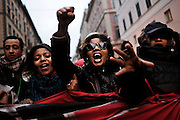 Donne protestano durante la manifestazione, Riprendiamoci la città, organizzata dai movimenti del diritto all'abitare. Roma, 19 gennaio 2013. <br /> Christian Mantuano / OneShot