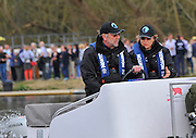Henley. United Kingdom.  Right Judith PACKER, Umpire for the  2014 Henley Boat Race, Henley Reach, Annual Women's Boat Race.  River Thames; Sunday  - 30/03/2014  [Mandatory Credit;  Intersport Images],