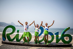 Primoz Cernilec, blind runner Sandi Novak and Roman Kejzar of Slovenia celebrate after the Men's Marathon - T12 Final during Day 11 of the Rio 2016 Summer Paralympics Games on September 18, 2016 in Copacabana beach, Rio de Janeiro, Brazil. Photo by Vid Ponikvar / Sportida
