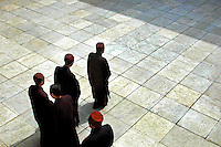 China, Wutai Shan, 2008. An elaborate Buddhist ritual designed to promote meditative powers. Novices and monks alike walk a precisely outlined rectangle.
