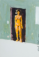 an original painting representing a smiling naked girl framed by a room door