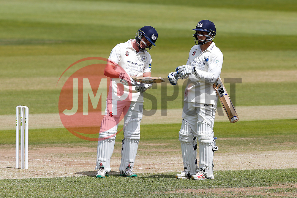 Michael Klinger of Gloucestershire and Chris Dent of Gloucestershire both inspect their bats after both suffer damage - Photo mandatory by-line: Rogan Thomson/JMP - 07966 386802 - 10/06/2015 - SPORT - CRICKET - Bristol, England - Bristol County Ground - Gloucestershire v Lancashire - Day 4 - LV= County Championship Division Two.