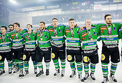 Players of Olimpija listening to the national anthem after they became Slovenian National Champion 2016 after winning during ice hockey match between HDD Telemach Olimpija and HDD SIJ Acroni Jesenice in Final of Slovenian League 2015/16, on April 11, 2016 in Hala Tivoli, Ljubljana, Slovenia. Photo by Vid Ponikvar / Sportida