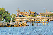 View across the causeway of the Seabreeze Restaurant on Cedar Key, Florida.