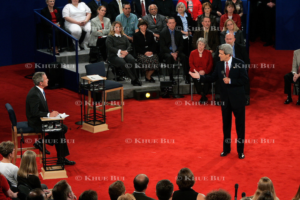 Sen. John Kerry and Pres. George Bush take part in the second presidential debate Friday, October 8, 2004, in St. Louis, MO...Photo by Khue Bui