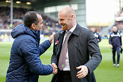 Everton Manager Roberto Martinez is greeted by Burnley Manager Sean Dyche - Photo mandatory by-line: Rogan Thomson/JMP - 07966 386802 - 26/10/2014 - SPORT - FOOTBALL - Burnley, England - Turf Moor Stadium - Burnley v Everton - Barclays Premier League.