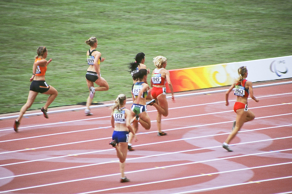Paralympics Day 3 - Beijing 2008<br /> Women 100m T46 Round 1 heat 1<br /> Runners competing in the women's 100m T46 Round 1 heat 1, morning of the day 3 of the Paralympic Games (september 09 2008). From left: SMITH Julie (Aus), METTES Marijke (Ned), RUDKIVSKA Tetyana (Ukr), LEANTSIUK Iryna (Blr), FINDER Sheila (Bra), MOGUSHAYA Alexandra (Rus), ARNOLD Kate (GBR).<br /> High Resolution available.
