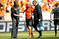 Fotball<br /> Nederland v Ungarn<br /> Foto: Proshots/Digitalsport<br /> NORWAY ONLY<br /> <br /> oefeninterland nederland - hongarije , 05-06-2010  6-1 bezorgde gezichten na hamstring blessure van arjen robben