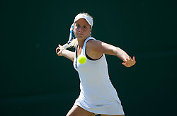 LONDON, ENGLAND - Monday, June 27, 2011: Megane Bianco (SUI) in action during the Girls' Singles 1st Round match on day seven of the Wimbledon Lawn Tennis Championships at the All England Lawn Tennis and Croquet Club. (Pic by David Rawcliffe/Propaganda)