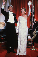 President and First Lady Reagan wave at an Inaugural Ball January 20, 1981....Photograph by Dennis Brack bB22